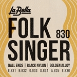 La Bella Folk Singer - Gold Wound Black Nylon, Ball End Set Medium Tension